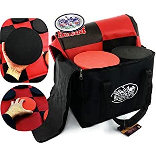 """Matty's Toy Stop Deluxe Giant Checkers (Indoor/Outdoor) Game with 6"""" Foam Discs, 48"""" (4 feet x 4 feet) Game Mat and Storage Bag"""