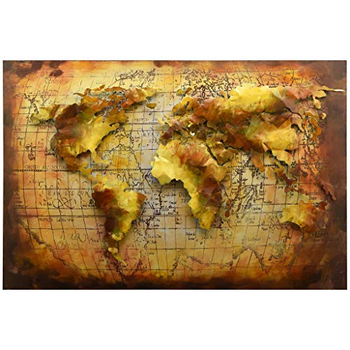 Empire Art Direct World Map Metal, Hand Painted Primo Mixed Media Iron Sculpture, Decor,Ready to Hang,Living Room, Bedroom & Office 3D Wall Art 48 in. x 2.0 in. x 32 in. Brown,Tan