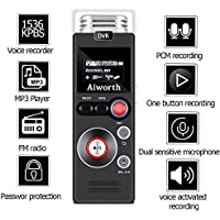 Digital Voice Recorder by Aiworth,8Gb 1536Kbps Voice Activated Recorder FM Radio,Dictaphone,MP3 Player 3 in 1,Support Password Lock Variable Play Speed Perfect Choice for Lectures,Meetings,Interview
