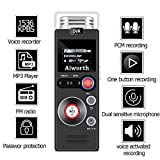 Digital Voice Recorder for Lectures,Aiworth 580 Hours Sound Audio Recorder Dictaphone Voice Activated Recorder Recording Device with Playback,MP3 player,Password,Variable Speed (Silver)