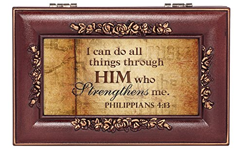 (All Things Through Him Philipians 4:13 Rose Wood Finish Jewelry Music Box Plays Canon in D)