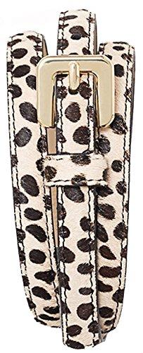 Calf Belt Leather Skinny (Ann Taylor Cheetah Leopard Print Calf Hair Skinny Belt, Womens M, Black & Cream)