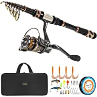 PLUSINNO Fishing Rod and Reel Combos - Carbon Fiber...
