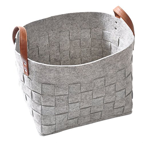 Woven Felt Storage Basket, LOONG BABY Large Natural Soft Laundry Hamper, Handmade Home Storage Boxes with PU Handle for organizing Baby Kids Toys, Clo…