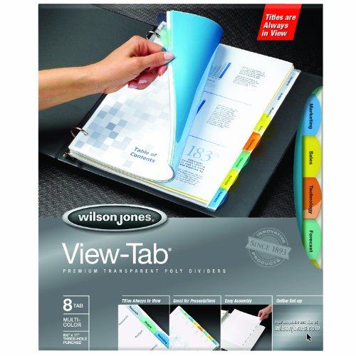 Wilson Jones View-Tab Transparent Dividers, 8-Tab Set, Square Multicolor, 5 Pack (5 sets of 8-Tab Dividers) (W55567)
