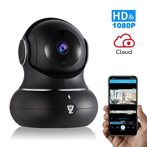 Wireless Home Camera -Littlelf 1080P HD Home WiFi Wireless IP Security Indoor Camera for Baby Pets Home Office Monitor with Pan Tilt Zoom,Night Version & 2-Way Audio Cloud Service Available (Black)