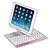 iPad Keyboard Case, Proslife 360 Degree Rotatable Cover with Wireless Keyboard, 7 Colors Backlit, Auto Sleep/Wake up for iPad 5/6/Pro 9.7/iPad Air/2017 New iPad(Rose Gold)
