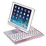 KINGEAR K760 New iPad Wireless Bluetooth Keyboard Case for iPad pro 9.7 / 2017 New iPad 9.7 / iPad Air / iPad Air 2 (Rose gold)