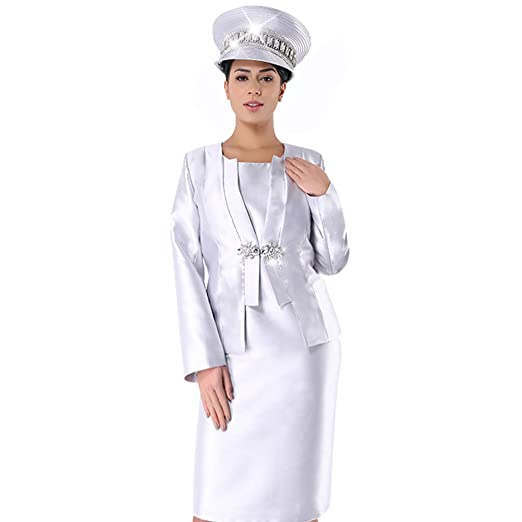 4d11b16e3516d Kueeni Women Church Suits with Hats Special Occasion Wedding Party Clothes  Silver