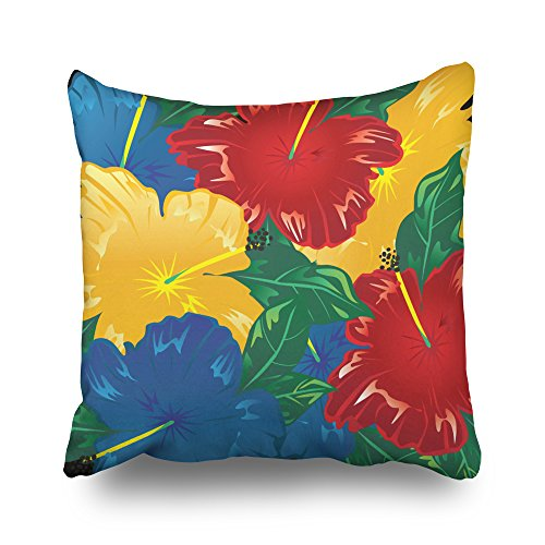 Pakaku Throw Pillows Covers for Couch/Bed 20 x 20 inch,Tropical Hibiscus Exotic Flowers Home Sofa Cushion Cover Pillowcase Gift Decorative Hidden Zipper Cotton and Polyester Summer Beach ()