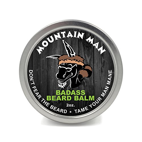 Badass Beard Care Beard Balm - Mountain Man Scent, 2 oz - All Natural Ingredients, Keeps Beard and Mustache Full, Soft and Healthy, Reduce Itchy and Flaky Skin, Promote Healthy Growth