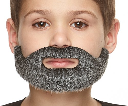 Mustaches Fake Beard, Self Adhesive, Novelty, Small, Short Boxed False Facial Hair, Costume Accessory for Kids, Salt and Pepper Color ()