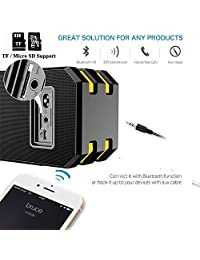 Altavoz Estéreo Bluetooth Altavoces, hamaxa Portable Wireless con Built in micrphone, manos libres, radio FM, LED, dos Enhanced Bass Hi Fi de subwoofer surround Reloj despertador para iPhone, iPad, Samsung Tablet PC Home