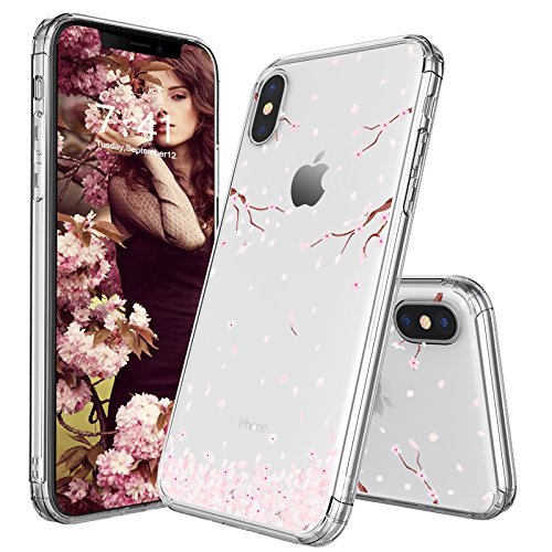 iPhone X Case, Cover for iPhone X, MOSNOVO Cherry Blossom Floral Printed Flower Clear Design Transparent Plastic Hard Slim Case with Soft TPU Gel Bumper Protective Case Cover for Apple iPhone X