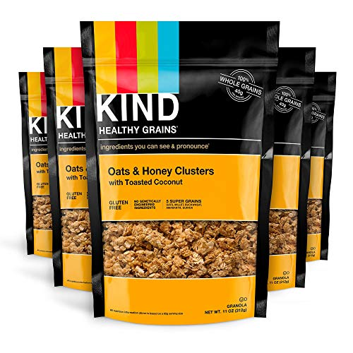 Kind Healthy Grains Clusters, Oats & Honey Toasted Coconut, 10g Protein, Gluten Free, 11oz (pack of 6)