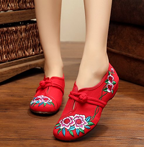 Avacostume Womens Chinese Broderie Chaussures De Marche Occasionnelles, Rouge, 41