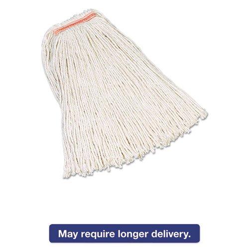Rubbermaid Commercial - Premium Cut-End Cotton Mop, White, 32 Oz, 1'' Orange Headband, 12/Carton