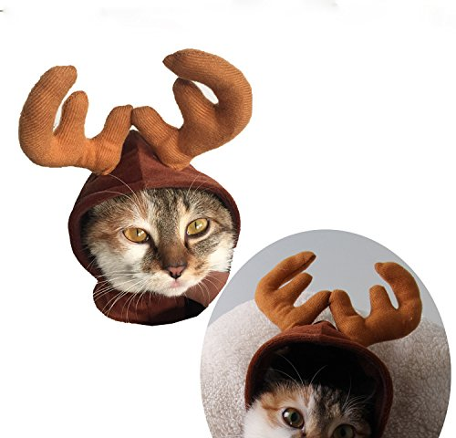FastEngle Christmas Halloween Costume Pet Cat Dog Antlers Deer Cap Hat 51K3FVx C9L