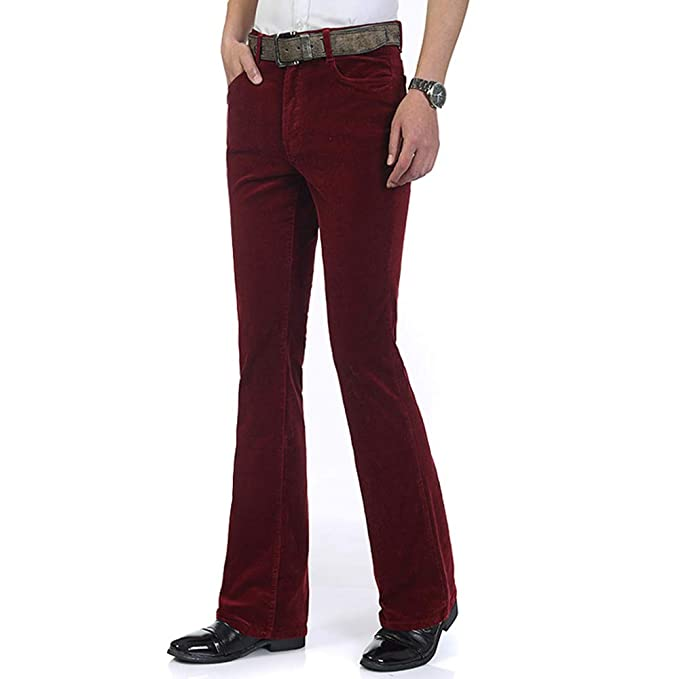 60s – 70s Mens Bell Bottom Jeans, Flares, Disco Pants HAORUN Men Corduroy Bell Bottom Flares Pants Slim Fit 60s 70s Vintage Bootcut Trousers $34.99 AT vintagedancer.com