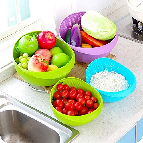KNK Marketing Pvt. Ltd Plastic Washing Bowl and Strainer for Rice, Fruits, Vegetable, Noodles, Pasta for Storing and Straining (22x18x12 cm)