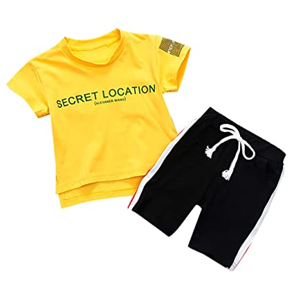 2Pcs Toddler Kids Baby Boy Leatter T-shirt Tops Pants Shorts Outfits Set Clothes