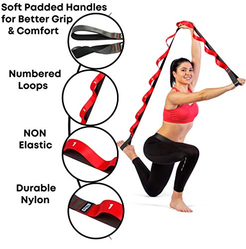 Stretching Strap with Loops for Physical Therapy, Yoga, Exercise and Flexibility – Non Elastic Fitness Stretch Band…