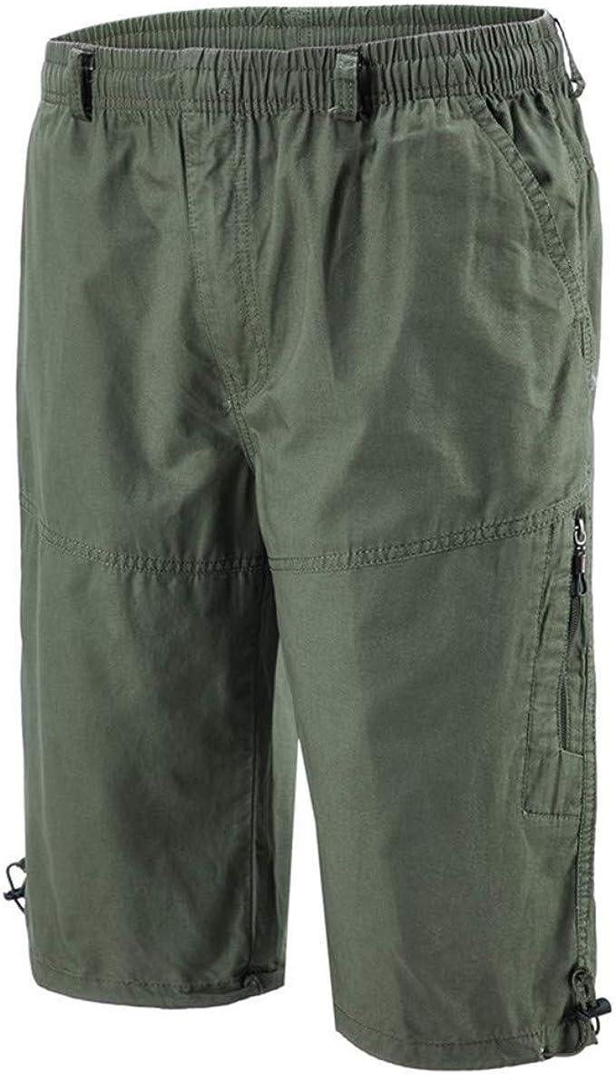 Mens Multi Pocket Outdoor Elastic Waist Cotton Cargo Shorts