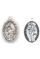 """Track & Field Oval Sterling Silver Women or Girls St. Sebastian Sport Medals, Patron Saint of Athletes with 18"""" Chain"""