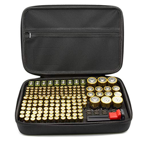 SURDAR 188 Batteries Organizer Storage Bag Hard Case Carrying Case Box Holder- Holds AA AAA C D 9V 3V Included Battery Tester BT-168 (Not Included Batteries)