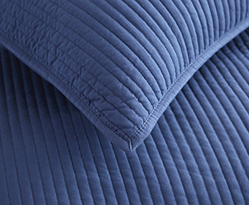Style Homes 3-Piece Luxury Quilt Set with Sham(s), Ultra Soft Microfiber Bedspread and Coverlet with Half inch Channel Stitch Design, Oversized, King, Blue Indigo by Style Homes (Image #4)
