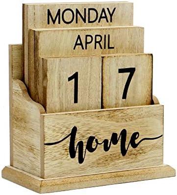 Hölzerner Weinlese-ewiger Kalender | Stilvoller ewiger Tischkalender | Lift 'n' Flip Block Design | Perfekt für zu Hause oder im Büro M&W (Holz)