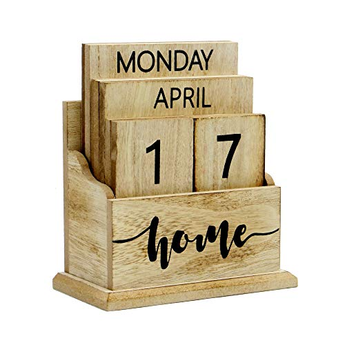 - Wooden Vintage Perpetual Calendar | Stylish Eternal Desk Calendar | Lift 'n' Flip Block Design | Perfect for Home or Office | M&W (Wood)