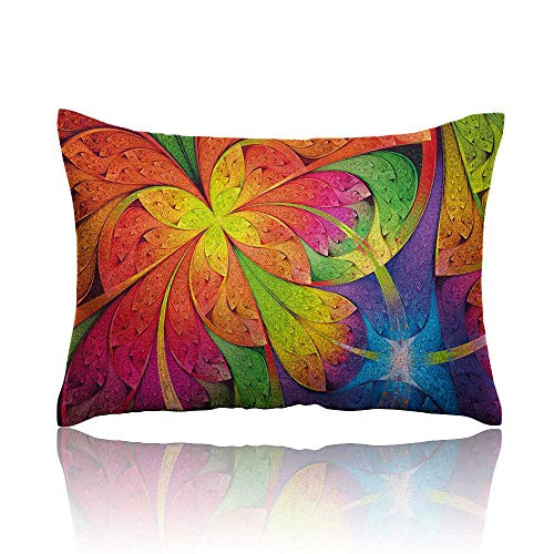 - Fractal Mini Pillowcase Vibrant Rainbow Colored Floral Pattern with Vivid Contrast Curved Leaves Artisan Print Fun Pillowcase 20
