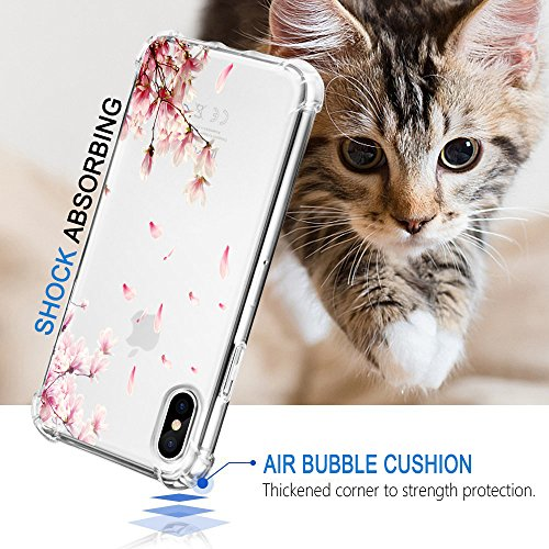 Funda iPhone X Carcasa Silicona Transparente Protector TPU Airbag Anti-choque Ultra-delgado Anti-arañazos Flores Case para Teléfono Apple iPhone 10 Caso Caja Flores 01