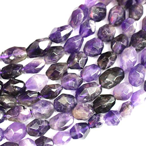 Icokarl Gorgeous Faceted Amethyst Nuggets 8x10mm Natural Gemstone Loose Beads Approxi 15.5 inch DIY Bracelet Necklace for Jewelry Making