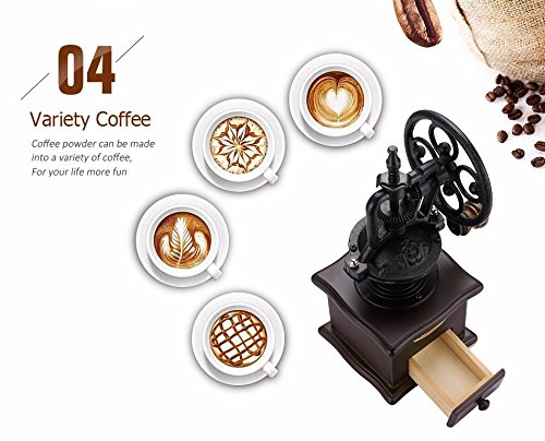 Fecihor Manual Coffee Grinder With Grind Settings and Catch Drawer - Classic Vintage Style Manual Hand Grinder Coffee Mill by Fecihor (Image #7)