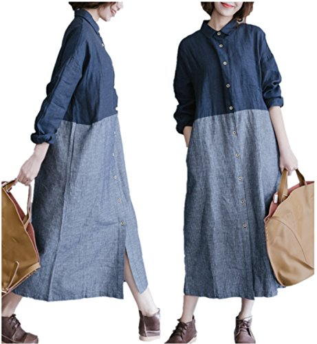 Yesno QN5 Women Long Maxi Loose Button-Down Dress Shirts 100% Cotton Casual Contrast Colored Striped Long Sleeve