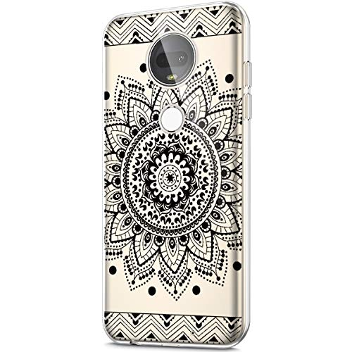 Price comparison product image ikasus Case for Moto G7, Crystal Clear Art Panited Design Soft & Flexible TPU Ultra-Thin Transparent Soft Rubber Gel TPU Protective Case Cover for Moto G7 Silicone Case, Black mandala flower