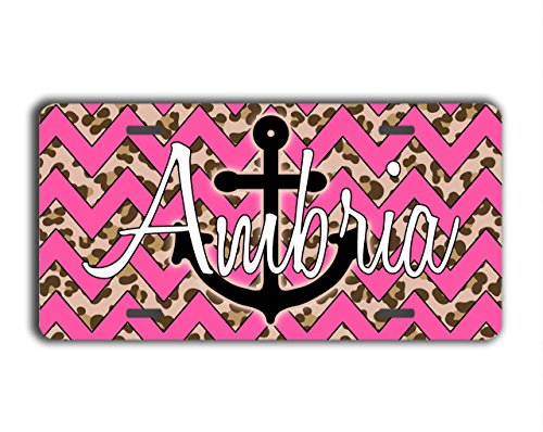 To Gild The Lily® Chevron personalized gift license plate - Pink chevron with cheetah print - Monogrammed car tag car accessory (Cheetah Print License Plate)
