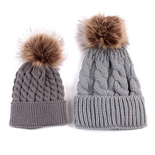 2PCS Parent-child Hat Warmer ,Oenbopo Mother & Baby Daughter/Son Winter Warm Knit Hat Family Crochet Fur Wool Beanie Ski Cap