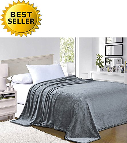 Elegant Comfort #1 Fleece Blanket on Amazon - Super Silky Soft - Sale - All Season Super Plush Luxury Fleece Blanket King/Cal King Gray