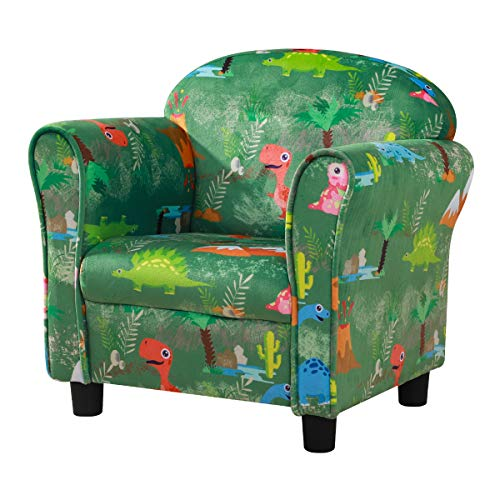 Kid Sofa Chair, Velvet Fabric Kid Upholstered Chair,Ideal Kid Bedroom Furniture(Green)