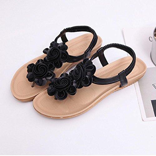 Punta Abierta Zapatos Negro Mujer Verano Zapatillas Sandalias Verano Youth Planas Mujer Plano Playa Zapatos Mujer Romanas Elegante de Mujer Sandalias Bohemia 2018 K Sandalias Chancletas 6pqZC