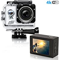 Action Camera 4K Ultra HD WiFi Sports Camera 16MP 170 Degree Wide Angle 2.0 Inch Waterproof Diving Camera with 2 Batteries and 19 Accessories Kit Included Silver