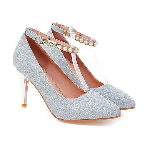 Balamasa Signore Tallone Di Cristallo Tallone Polsino Polsino Paillettes Pompe-scarpe Argento
