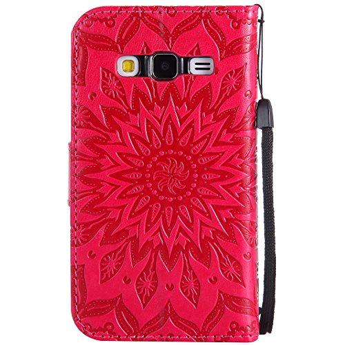 Funda Core Prime, SsHhUu Funda PU Piel Genuino Carcasa en Folio [Sun Flower] [Ranuras para Tarjetas] [Cierre Magnetico] con Lápiz óptico + Acollador para Samsung Galaxy Core Prime G360 (4.5) Púrpura Rojo