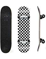 31inch Maple Skateboard Double Kick Skate Board Cruiser 7 Layer Maple Deck for Extreme Sports and Outdoors