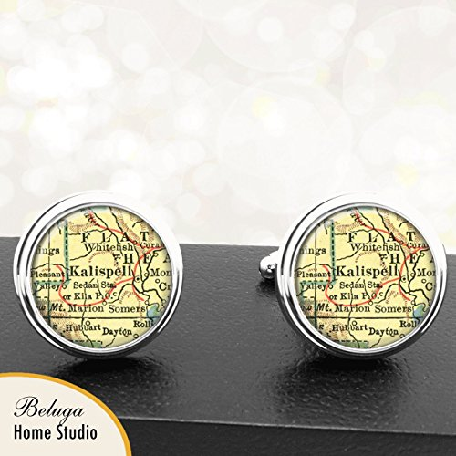 Map Cufflinks Kalispell MT Antique Map Cuff Links Handmade for sale  Delivered anywhere in USA