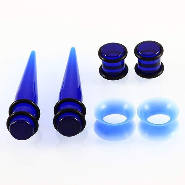 F Fityle 50 Pedazos Dilatación de Orejas Expansor de Túnel de Oídos Silicona para Hombre Mujer 14G - 00G - Azul: Amazon.es: Joyería