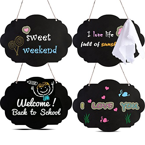 AUSTOR Chalkboard Sign Double Sided Erasable Message Board with Hanging Strings, 4 Pack